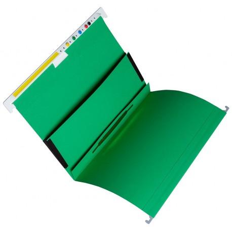 Cartella sospesa in cartone con doppia tasca,  con fermafoglio      , A4